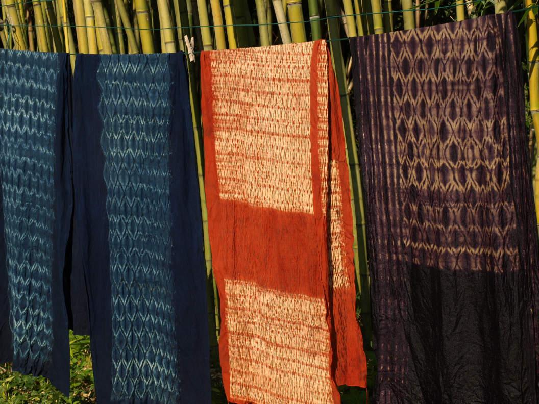 Woven Shibori textiles by cathatine ellis
