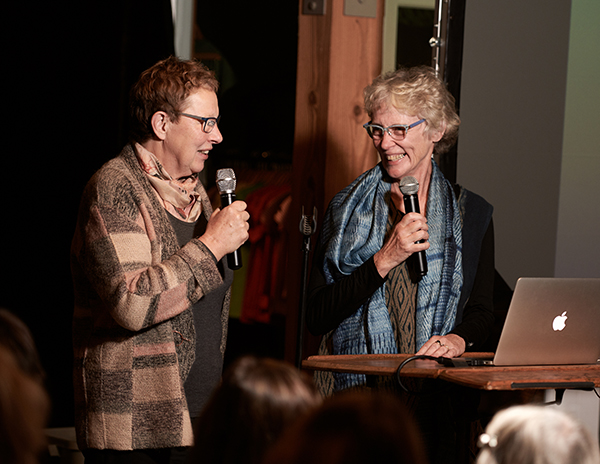 Joy Boutrup (Left) and Cathatine Ellis (RIGHT) presenting at the Maiwa School of Textiles Fall 2018.