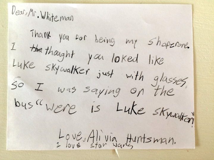 A thank you note for one of Jude's classmates. Probably my favorite.