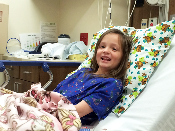 Abbey pre-procedure. That's the pillow case and blanket the hospital gave her.
