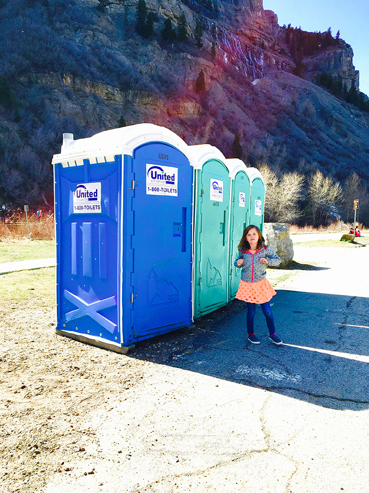 "The kids had never used a porta potty so they thought it was funny. After using the it Abbey said ""I got to pee on a juicy poo."""