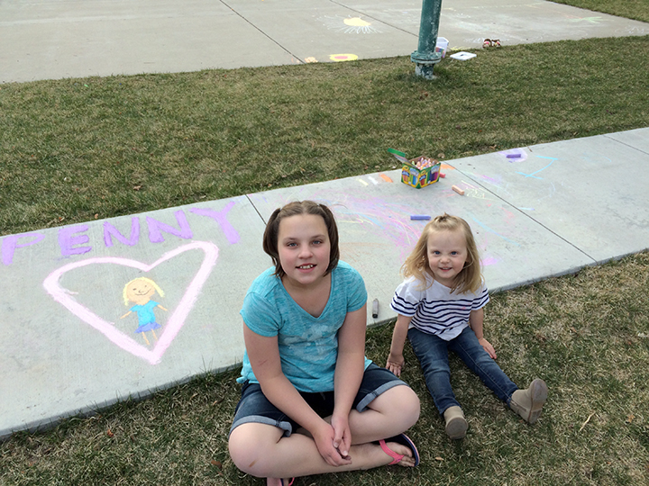 Marisa made beautiful chalk art for Penny. Penny adores Marisa and we are grateful they are part of our lives.