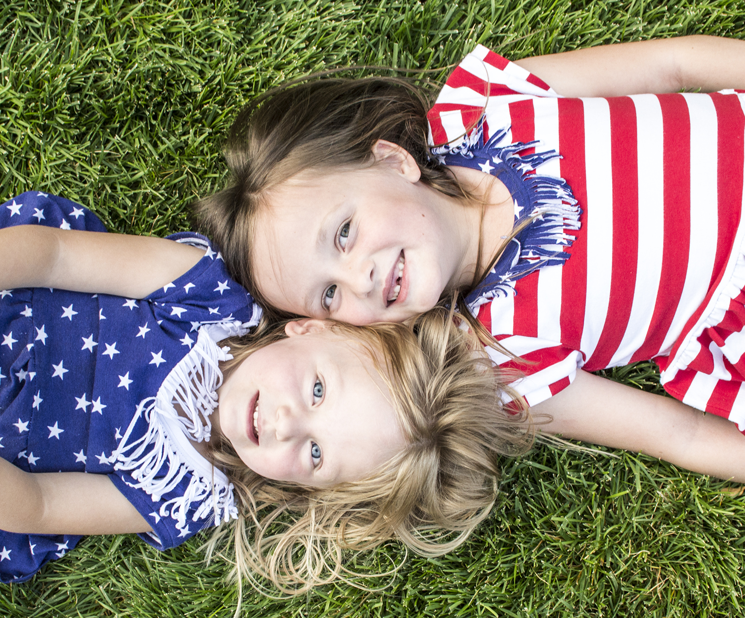 Penny and Abbey in their 4ourth of July outfits that Shauna made.