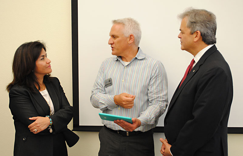 Lourdes Castro Ramirez with HUD (l), KLRU-TV's Benjamin Kramer, and Mayor Steve Adler (r)(Photo courtesy of HACA)