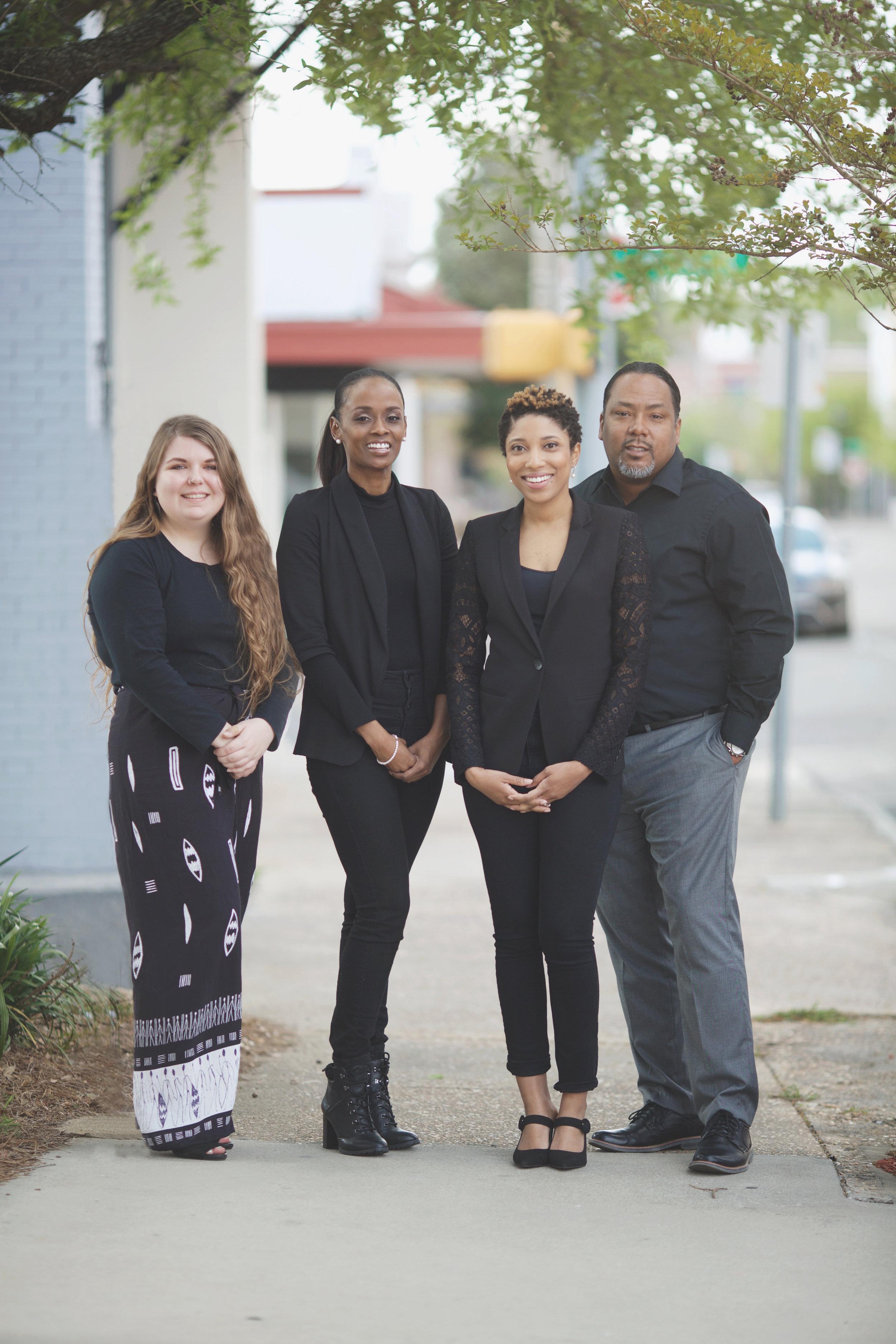 Full-Time Management Team (L-R):   Destiny Hosmer (Comm. Manager), Kienda Koonce (Program Manager), Precious Freeman (Executive Director), Biko Freeman (Facilities Manager)