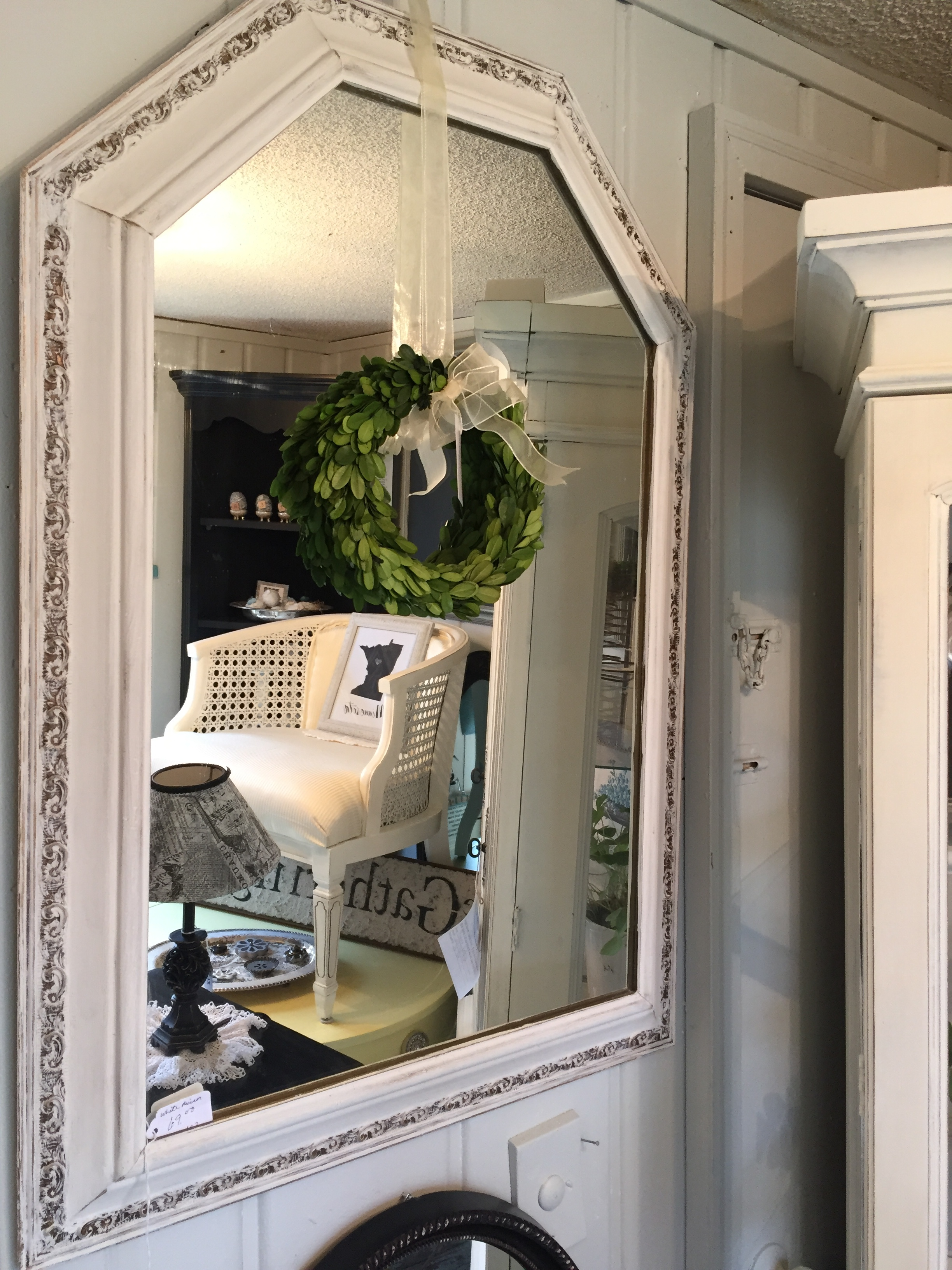 10. Open up small spaces with a vintage mirror. This ornate design on such a large mirror is especially nice. LOVE!