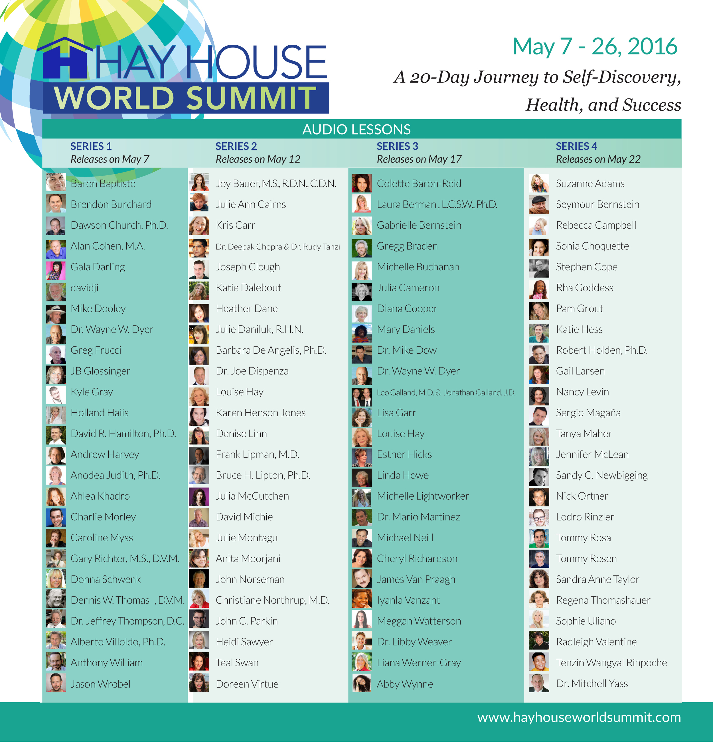 During Series 1 which begins on May 7th, count down to the ninth person. That's me right under Dr. Wayne Dyer! And check out all the others!