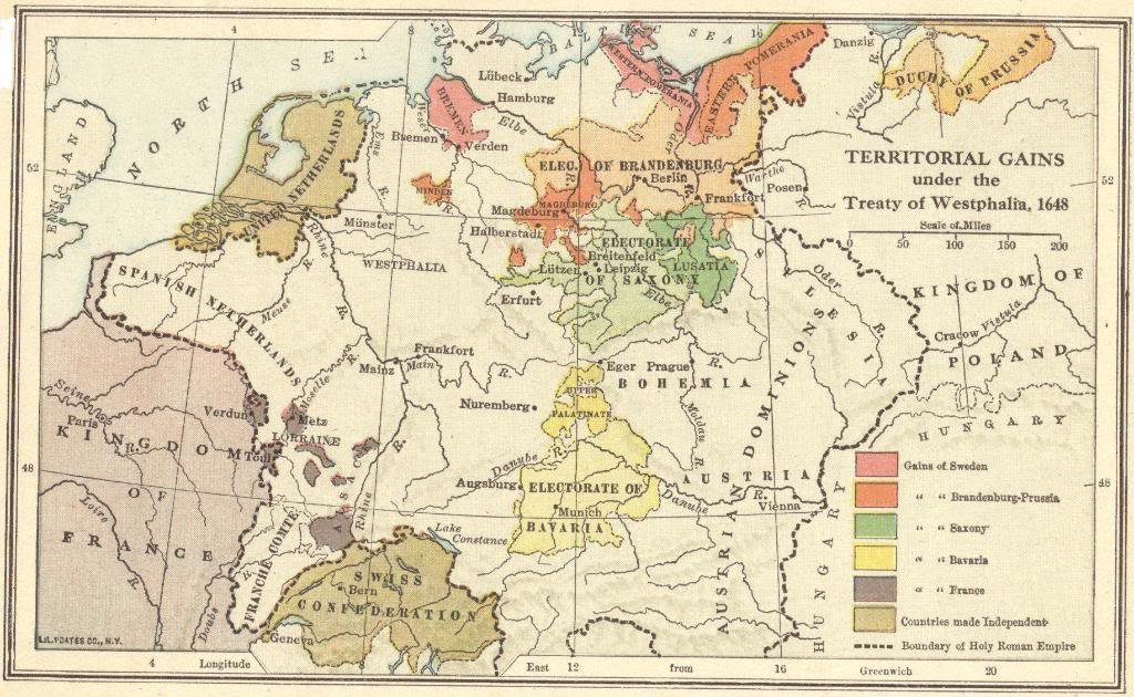 Map of territorial gains by sweden, brandeburg-prussia, saxony, bavaria, and france under the 1648 Treaty of Westphalia.   CREDIT:http://www.studenthandouts.com/Gallery/WH09/09.26-map-treaty-of-westphalia.htm.