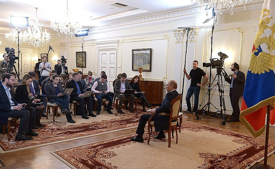 President Putin answering journalists' questions on the situation in Ukraine, 4 March 2014.   C  redit: The Kremlin, en.kremlin.ru/events/president/news/20366.
