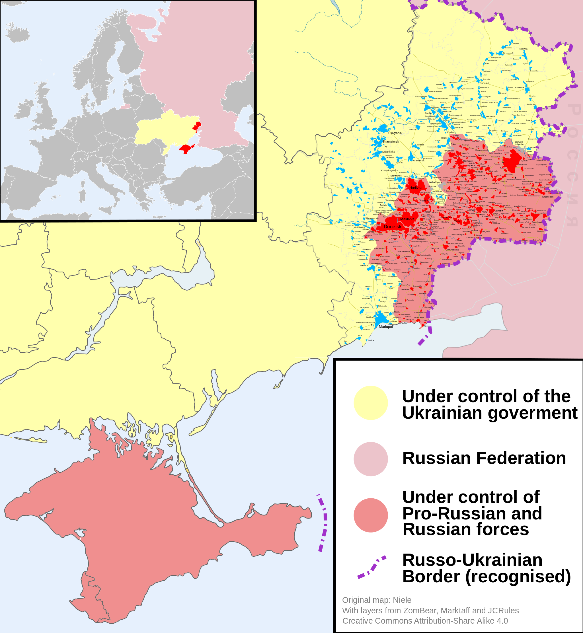 RUSSIAN INCURSION INTO UKRAINIAN TERRITORY, AS OF SEPTEMBER 2014. CREDIT: By Niele (Own work) [CC BY-SA 4.0 (http://creativecommons.org/licenses/by-sa/4.0)], via Wikimedia Commons.