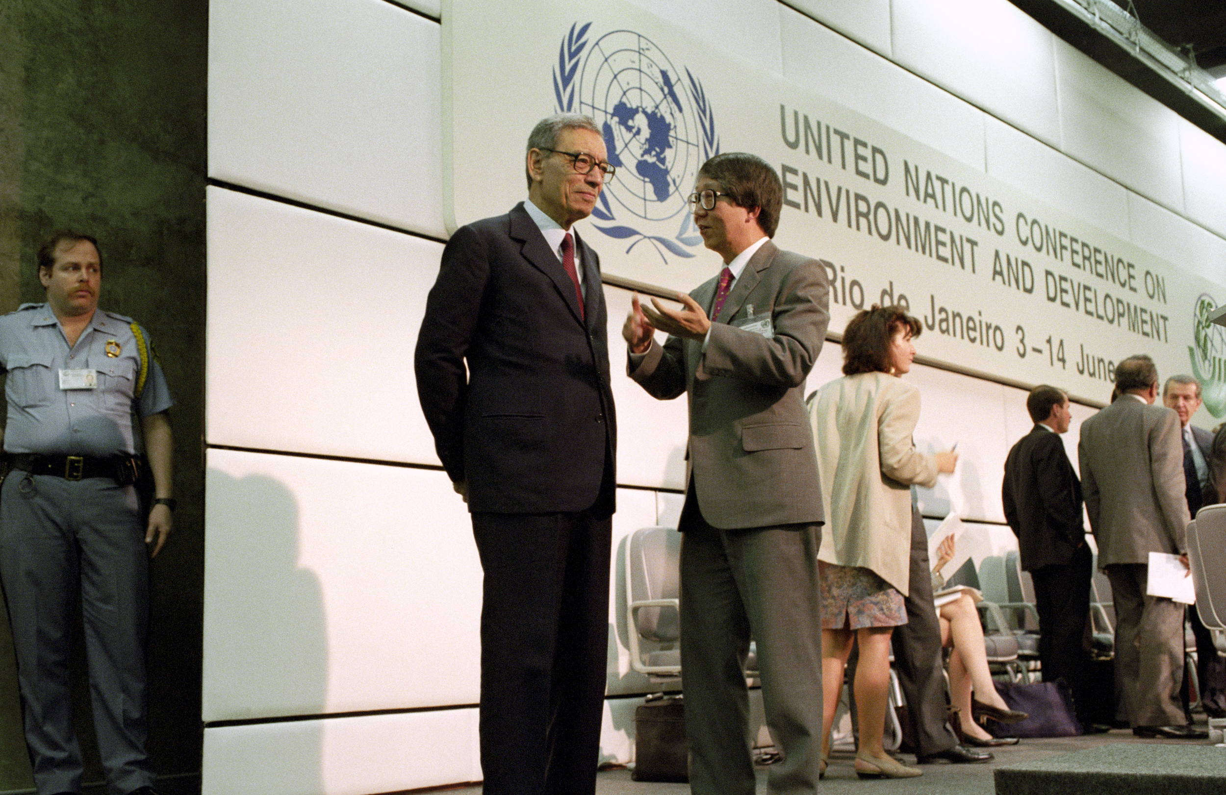 Secretary-general boutros boutros-ghali and chairman tommy koh at the historic earth summit in 1992.   CREDIT: UN PHOTO,  HTTP://WWW.UNMULTIMEDIA.ORG/PHOTO/GALLERY.JSP?QUERY=BOUTROS-GHALI .