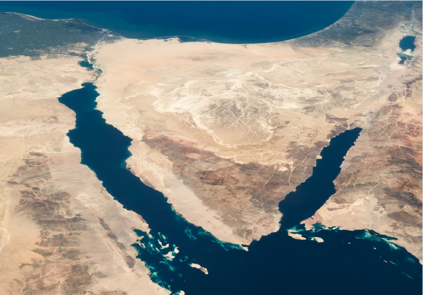 CREDIT: IMAGE BY NASA/astronaut Chris Hadfield on board the International Space Station, Wikimedia Commons at https://commons.wikimedia.org/wiki/Category:Satellite_pictures_of_the_Sinai_Peninsula?uselang=fr#/media/File:ISS035-E-007148_ Nile_-_Sinai_-_Dead_Sea_-_Wide_Angle_View_(cropped).jpg.