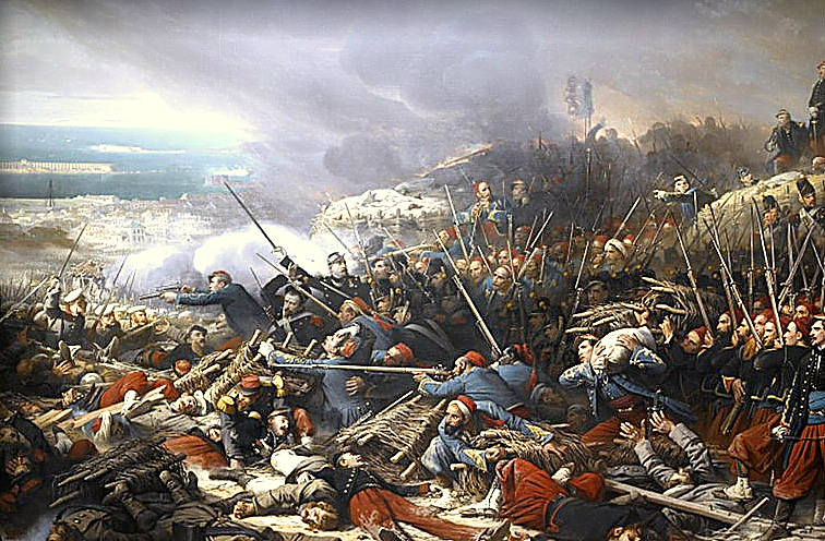 'Episode of the Siege of Sebastopol during the Crimean War in 1855', by Adolphe Yvon.  Credit: Public domain, via Wikimedia Common s.