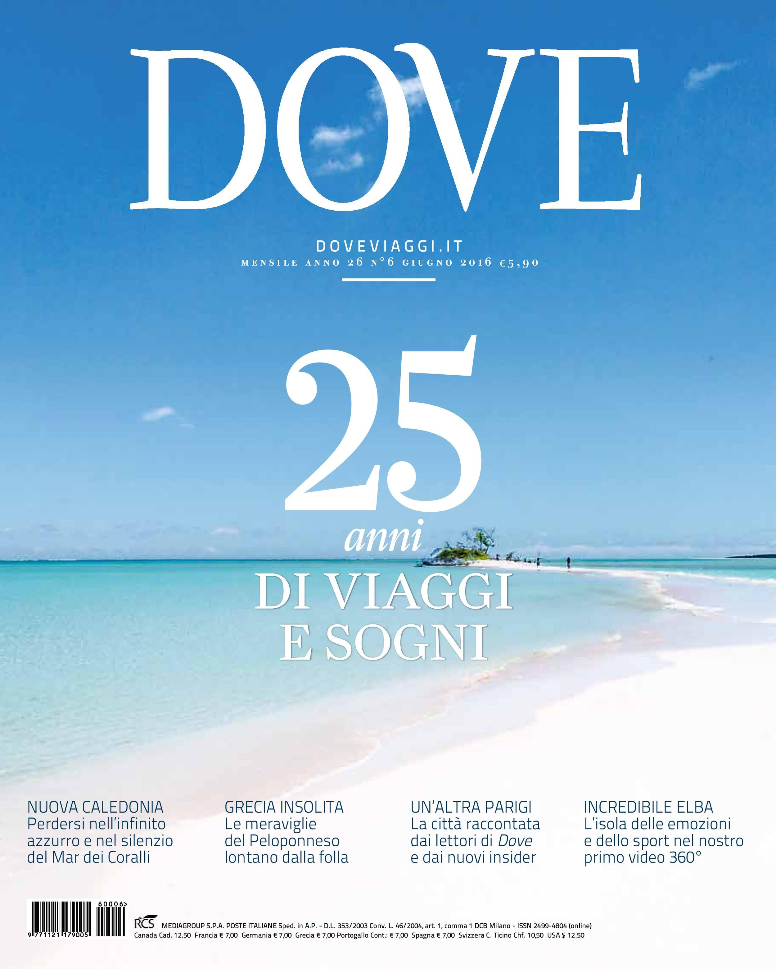 Cover of the 25th anniversary of the magazine DOVE VIAGGI