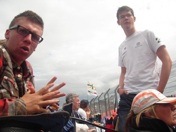 At the 2009 British Grand Prix with college friend Stephen Derbyshire. This weekend, Steve gave Dan the courage to sneak his way into the F1 paddock (with no less than 3 lines of security!) and speak with Lewis' father for a few minutes, before being kicked out by security - but the seed had been planted and Dan had made his decision to pursue his racing dream.