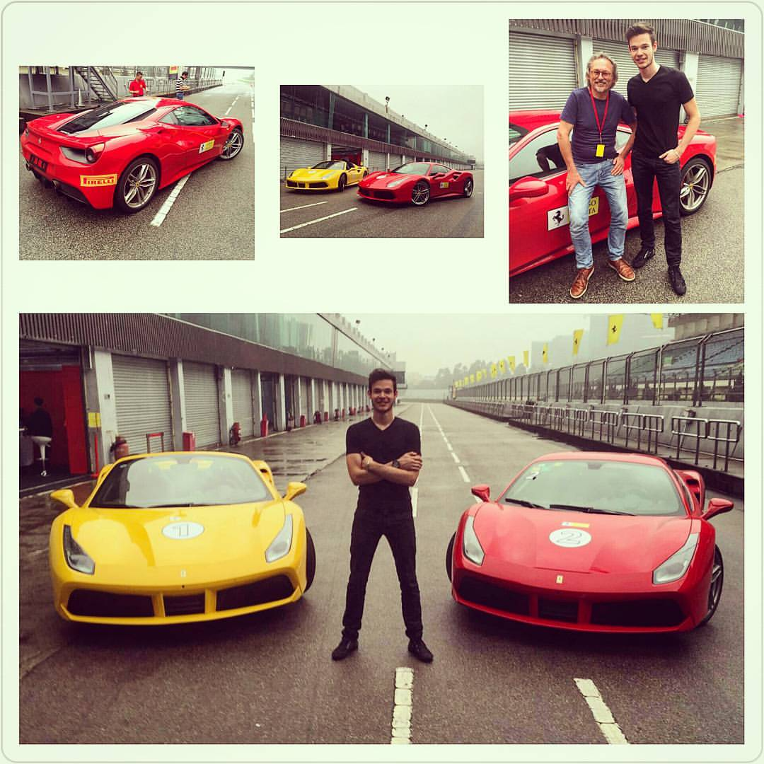 At a damp Zhuhai track with Ferrari