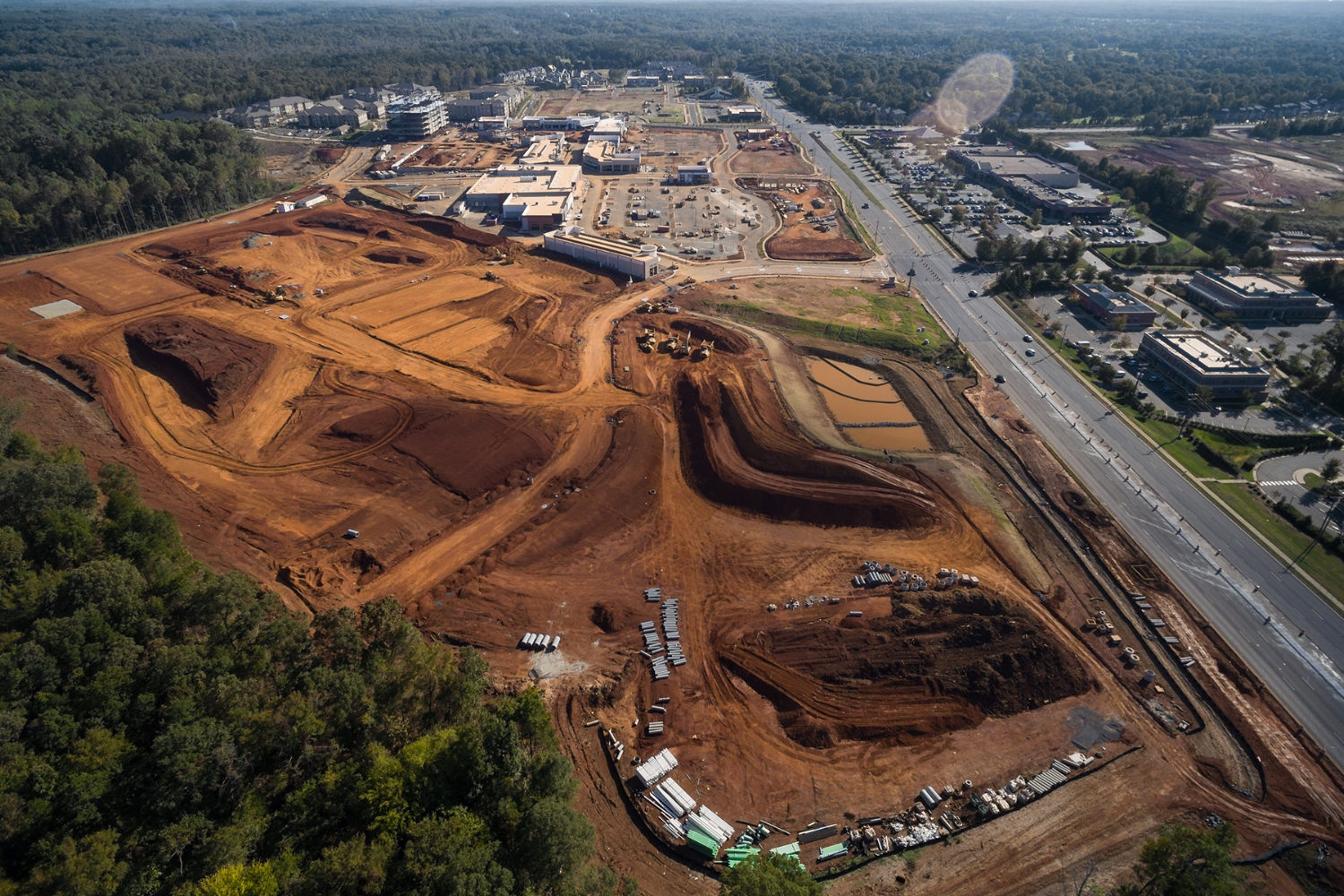 aerial view of crescent providence farms. the site is located right next to the almost complete    Waverly    mixed-use development.