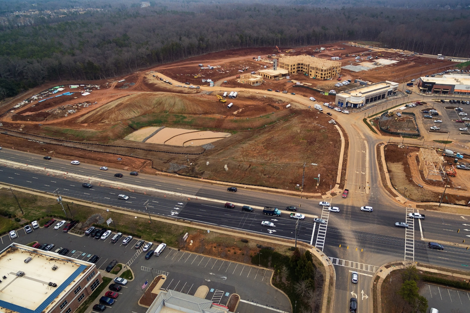 an aerial view of crescent providence farm near the interchange of 485 and providence rd updated as of Jan 16, 2017