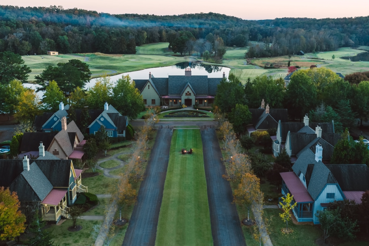 An aerial shot of Barnsley Resort in the fall.