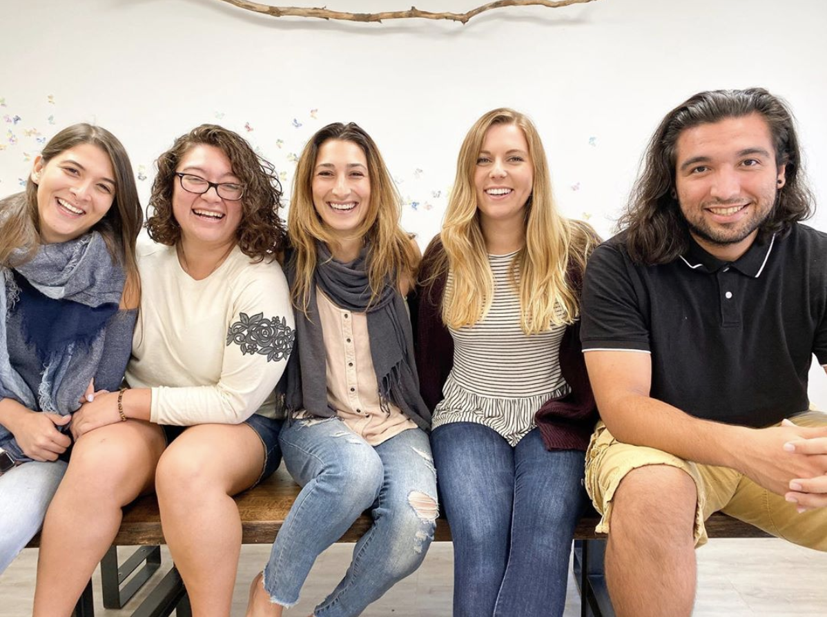 Behind all of the Hugs & Bugs Club creative activities, laughter and mess, and all the in-betweens, is this group of Creative Rockstars! They bring their hearts, passion, love, art, beautiful energy and amazing creativity to each part of their process. (From left to right: Luisa, Nora, Olivia, Bri, David)