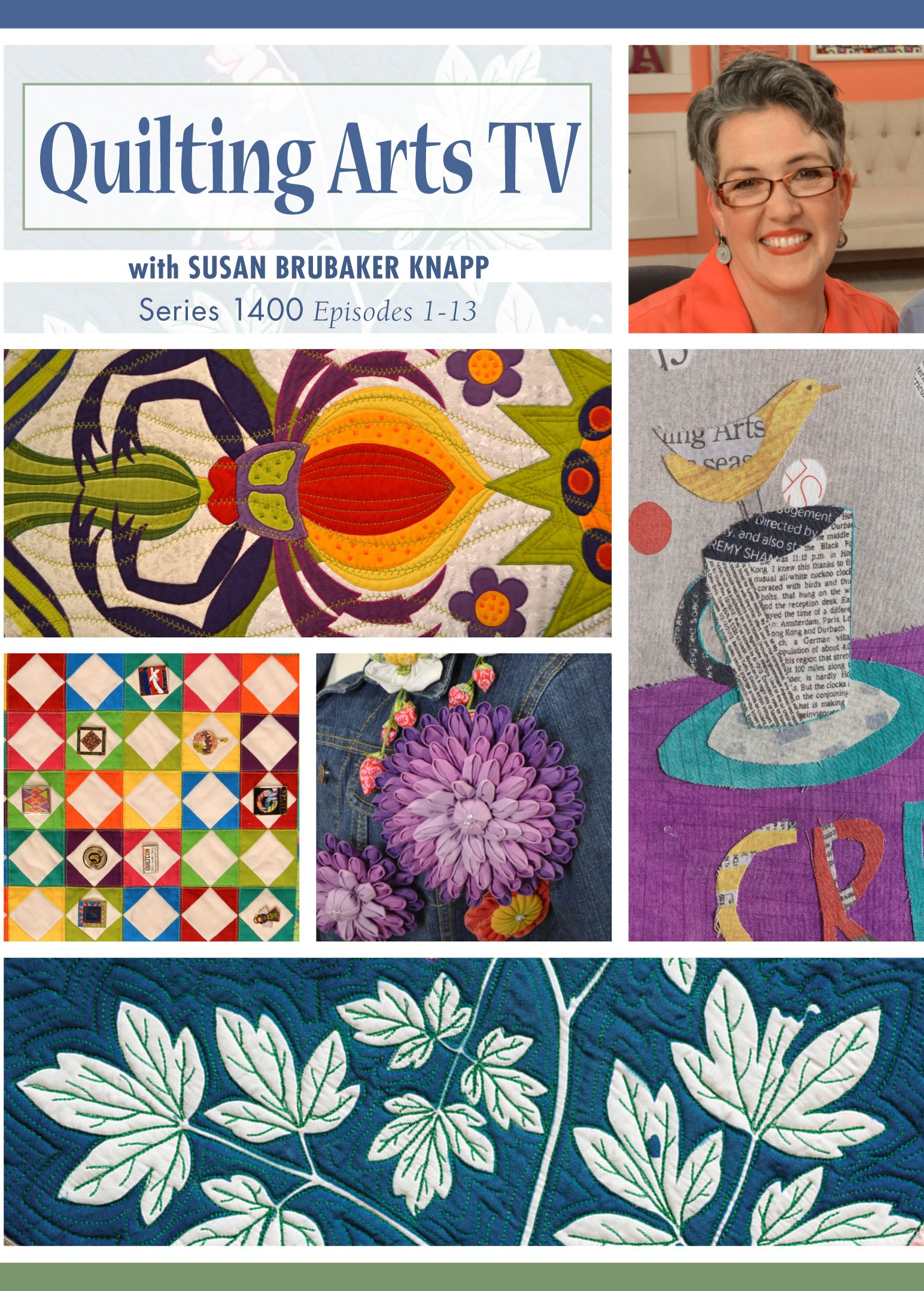 PBS Quilting Arts TV   show (episodes 1404, 1408 and 1410) which began airing nationwide in July, 2014.  You can see a preview of me on episode 1404   here  .