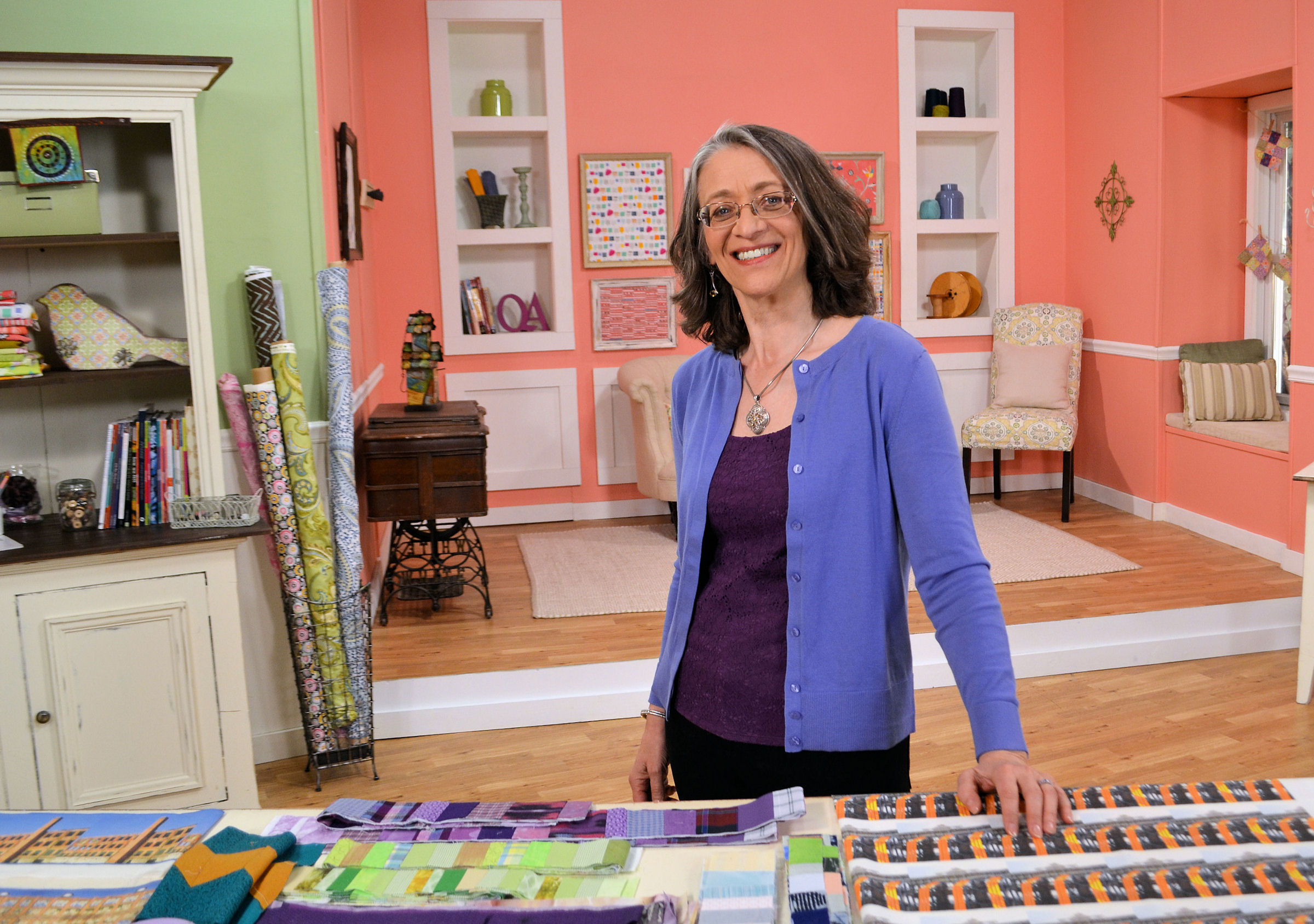 On the set of Quilting Arts TV,filming  Surface Design Essentials for the Printed Quilt      phone: 717-842-0651     email:      SUE@SUERENO.COM     Clicking the email link above will work if you have enabled email access on your browser; otherwise, copy and paste. I look forward to hearing from you.