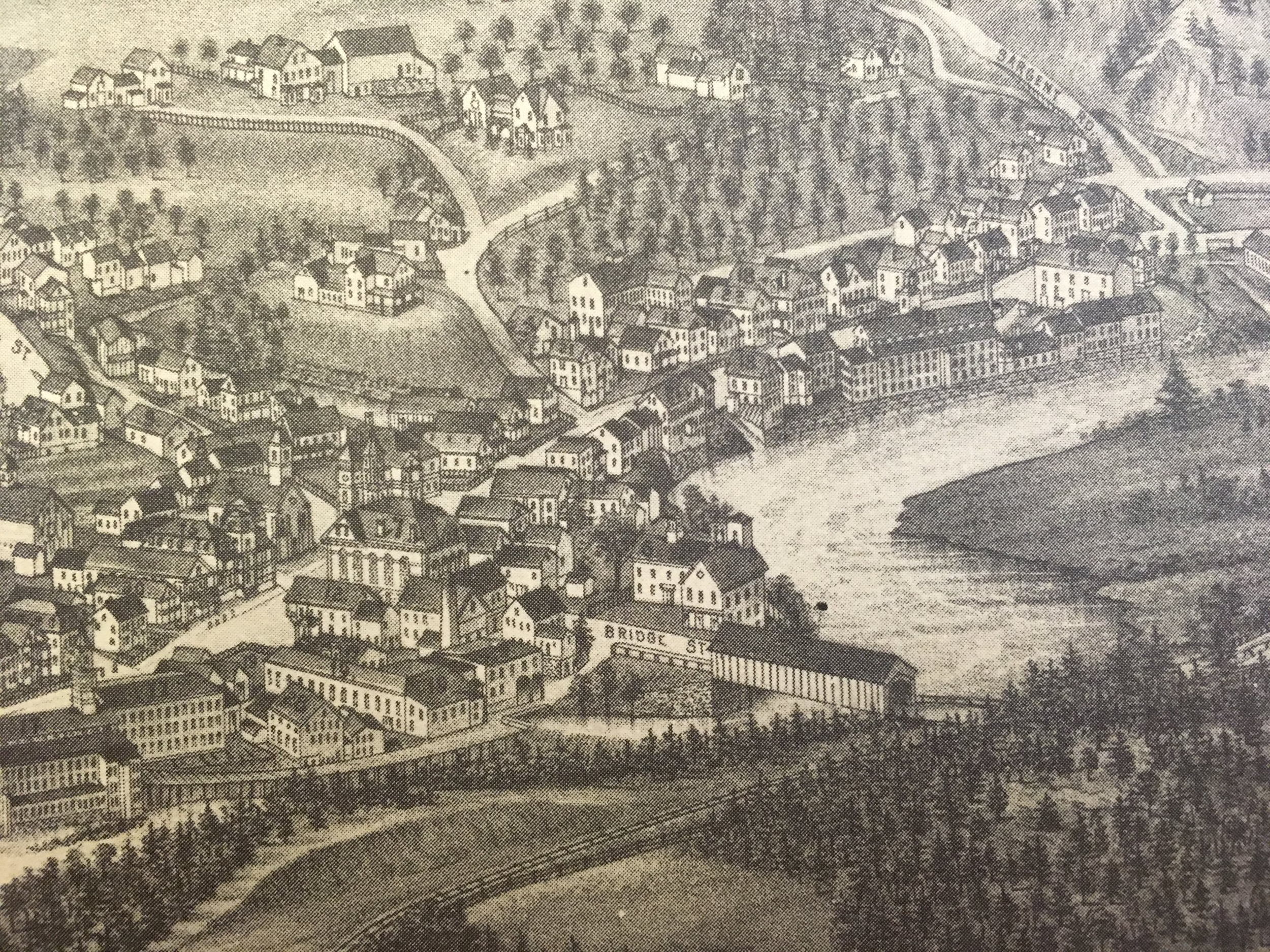 1886 Bird's Eye map of Hinsdale.