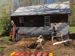 Removing original and replacement clapboards.JPG