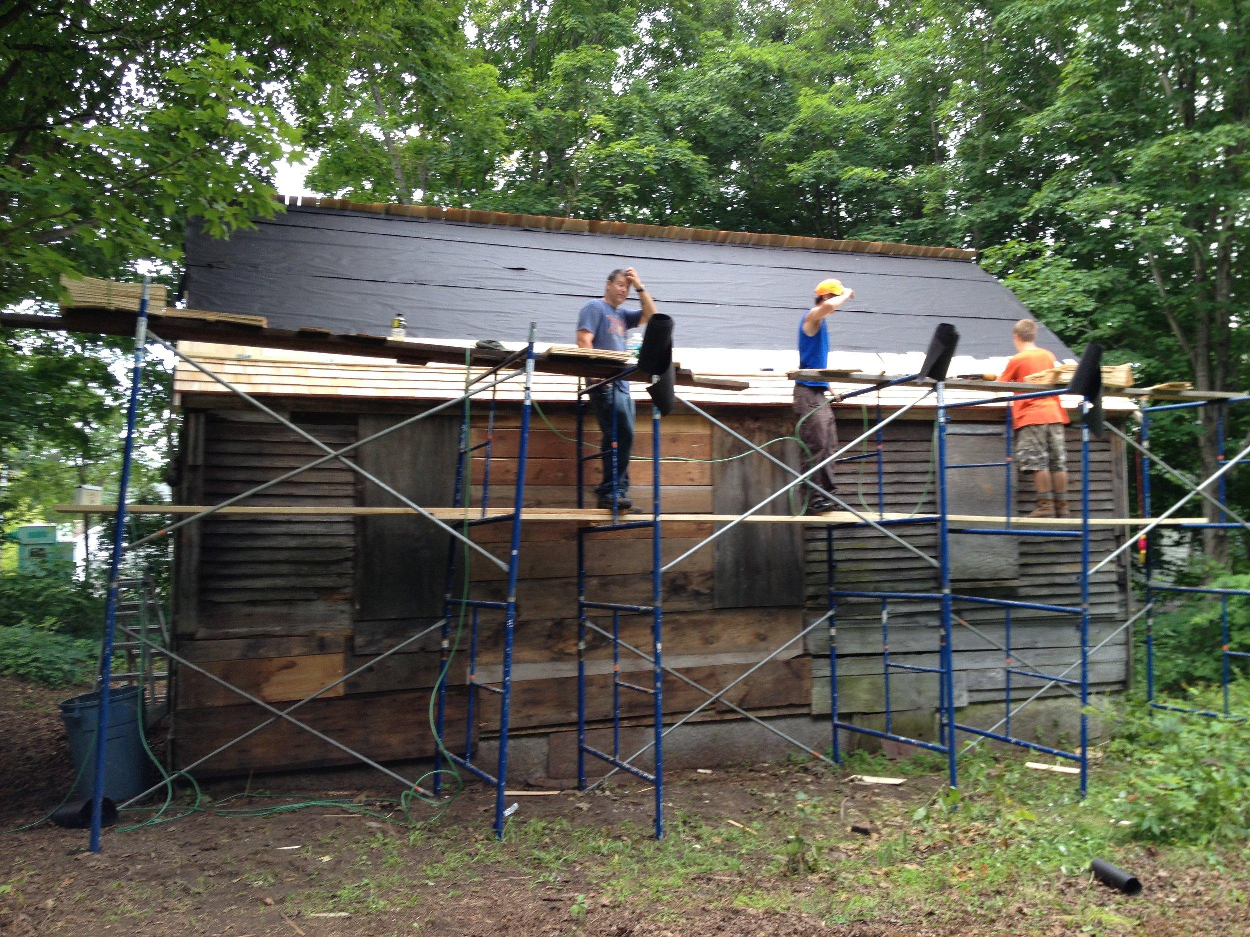 Installing shake roof.JPG