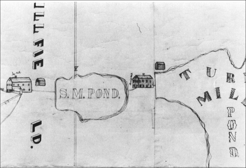Early map showing Turning Mill Pond, dam, and mill (to right of S.M. Pond)
