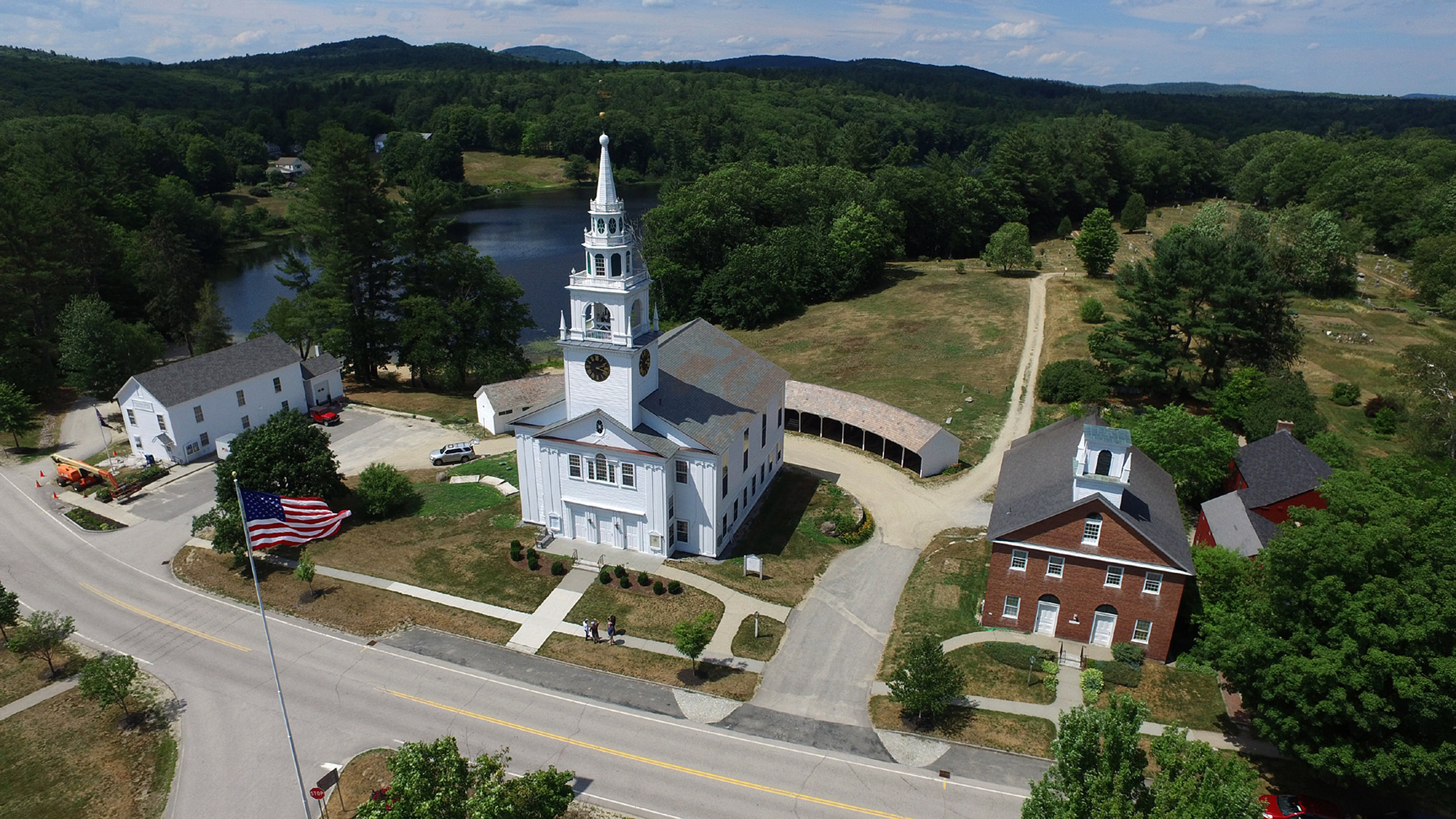 The 1820 Hancock Meetinghouse is one of only two in New Hampshire that are jointly owned by a town and a church. It serves as the anchor of the town's historic village. (Photo courtesy of the Town of Hancock.)