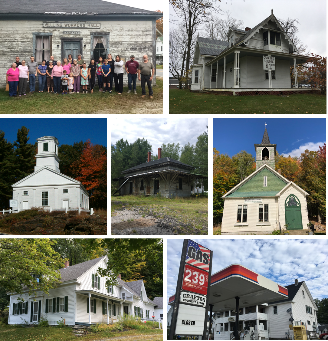 The list features a new group of endangered historic structures, from top left to right: Willing Workers Hall in Warren, Gothic Cottage on the Chesterfield common, First Baptist Church in Gilmanton, Ossipee Depot, Marion Blodgett Museum in Stratford, former home of poets Donald Hall and Jane Kenyon, and general stores statewide.