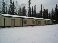 Motel front in winter  A nice winter view of the motel units.