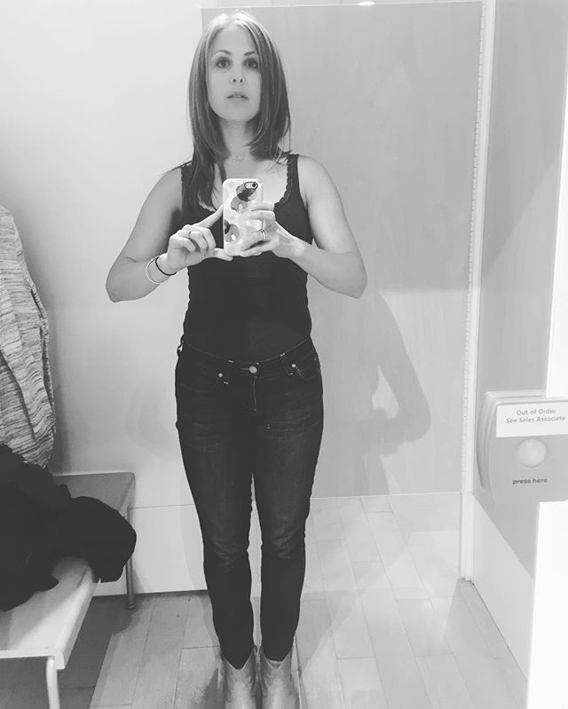Time for a little fall clothes shopping--and a shameless dressing room selfie. 😜🍁🍂 #shopping #selfie #fallfashion #blackandwhitephotography