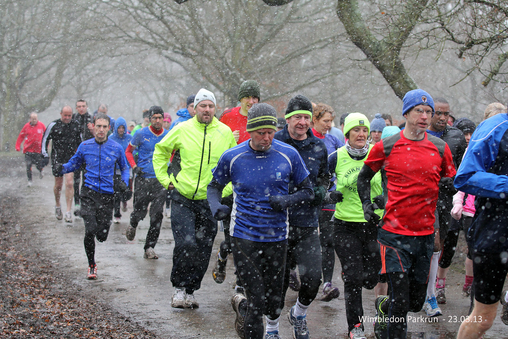 My first parkrun, March 2013 (me in the red top on right).  (Image © 2013 Guy Gibbons)