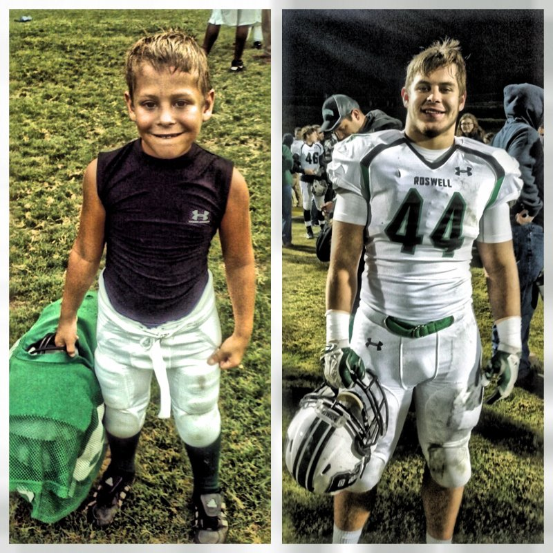 My Sophomore's 1st day as a Roswell Hornet in 2nd grade, and after last Friday's win against Grayson. He will play as a Hornet for 11 years.
