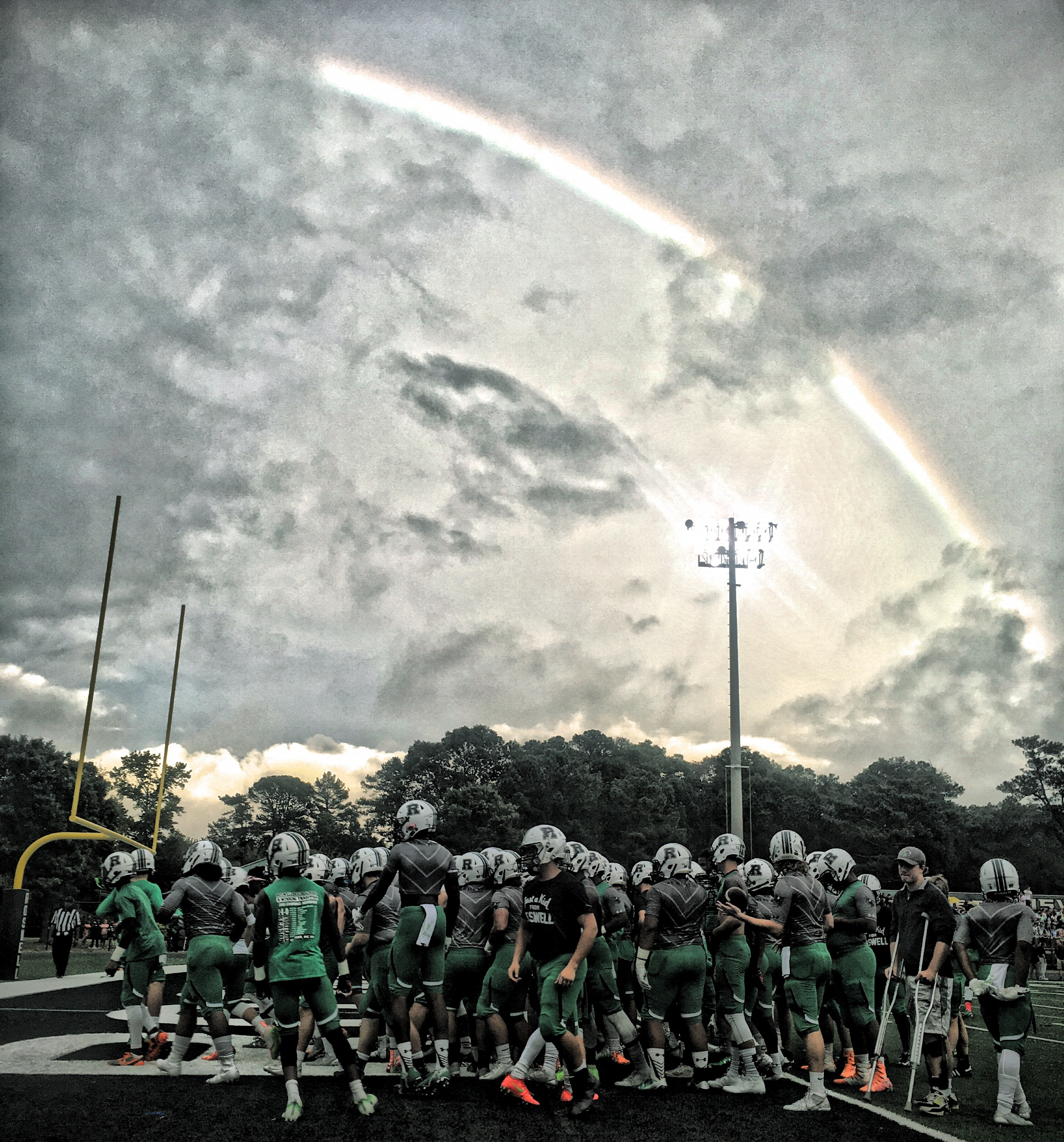 A rainbow over Roswell before the game.