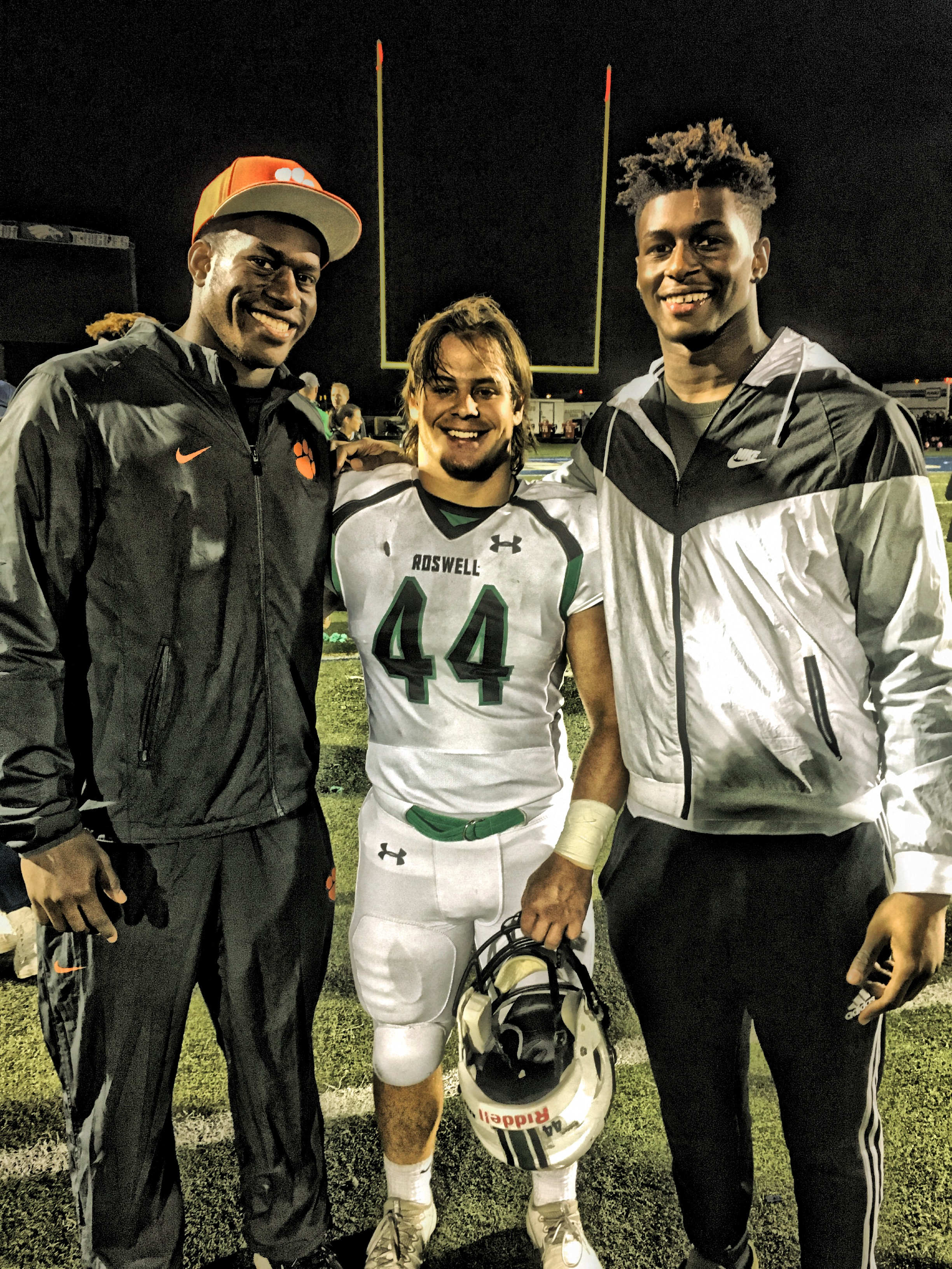 My son celebrating last week's win with Roswell alumni: Clemson's Tre Lamar and UNC's Tyrone Hopper.