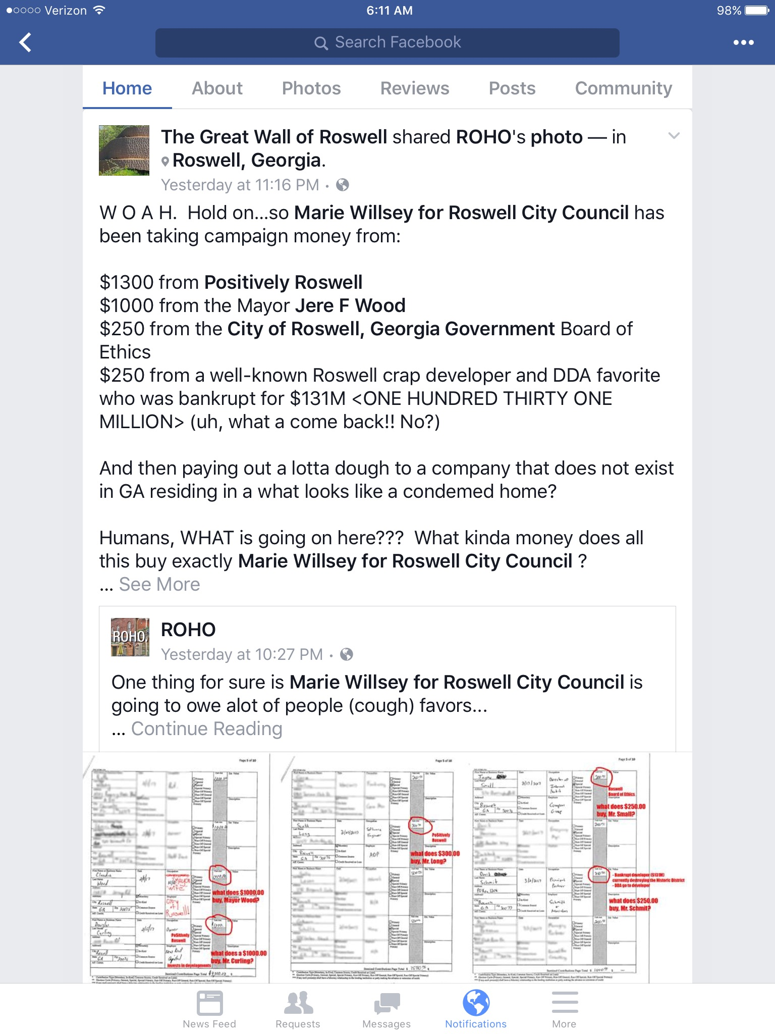 This group has since amended this post, but their tactics are clear to disparage our organization and Marie Willsey.