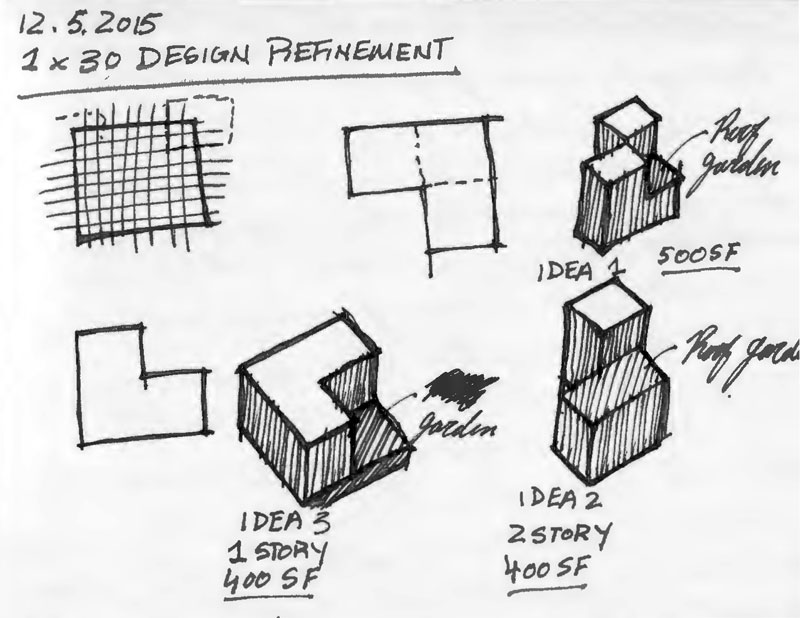 NYC Micro Dwelling Massing Model Sketch
