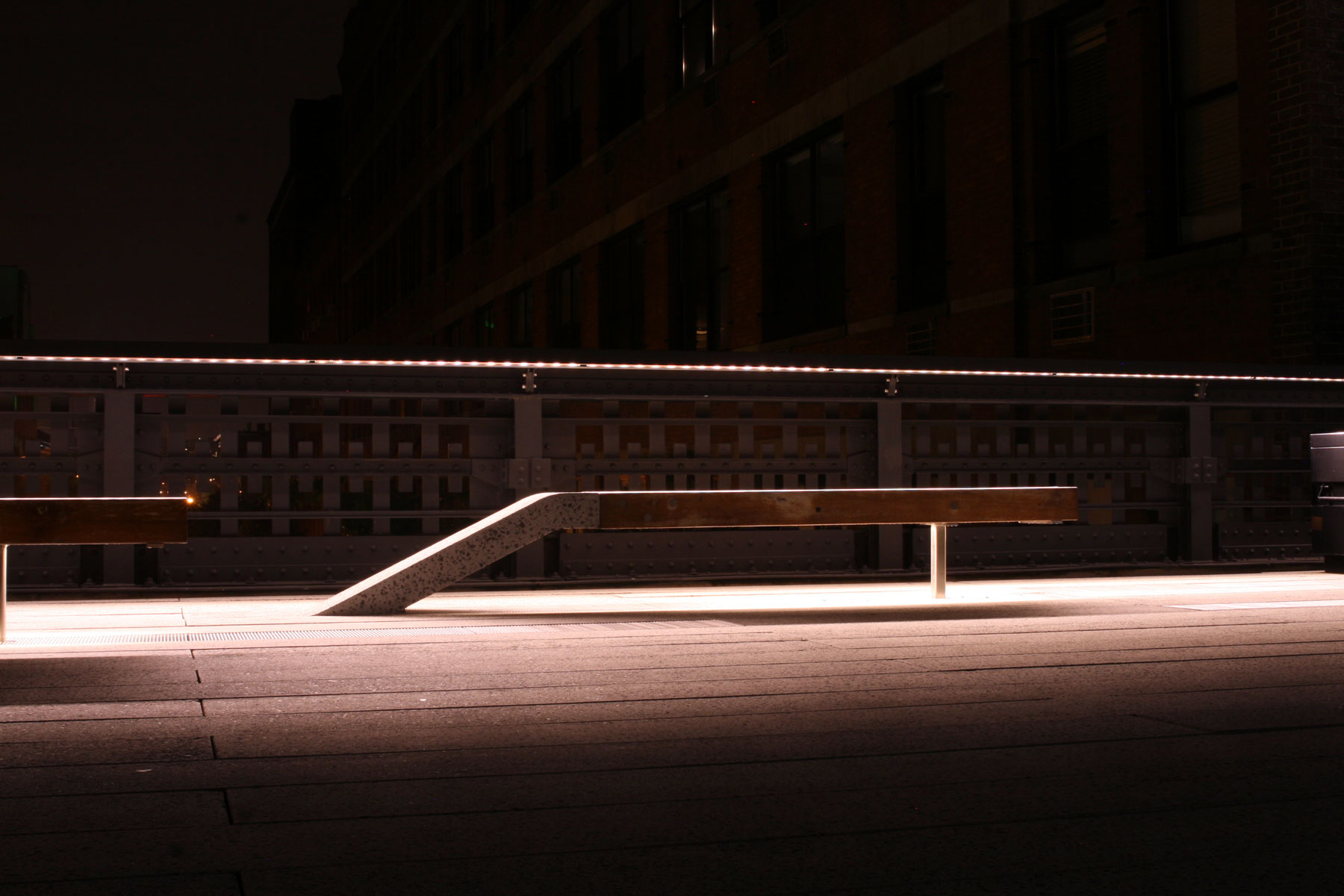 Concrete and wood bench on the Highline