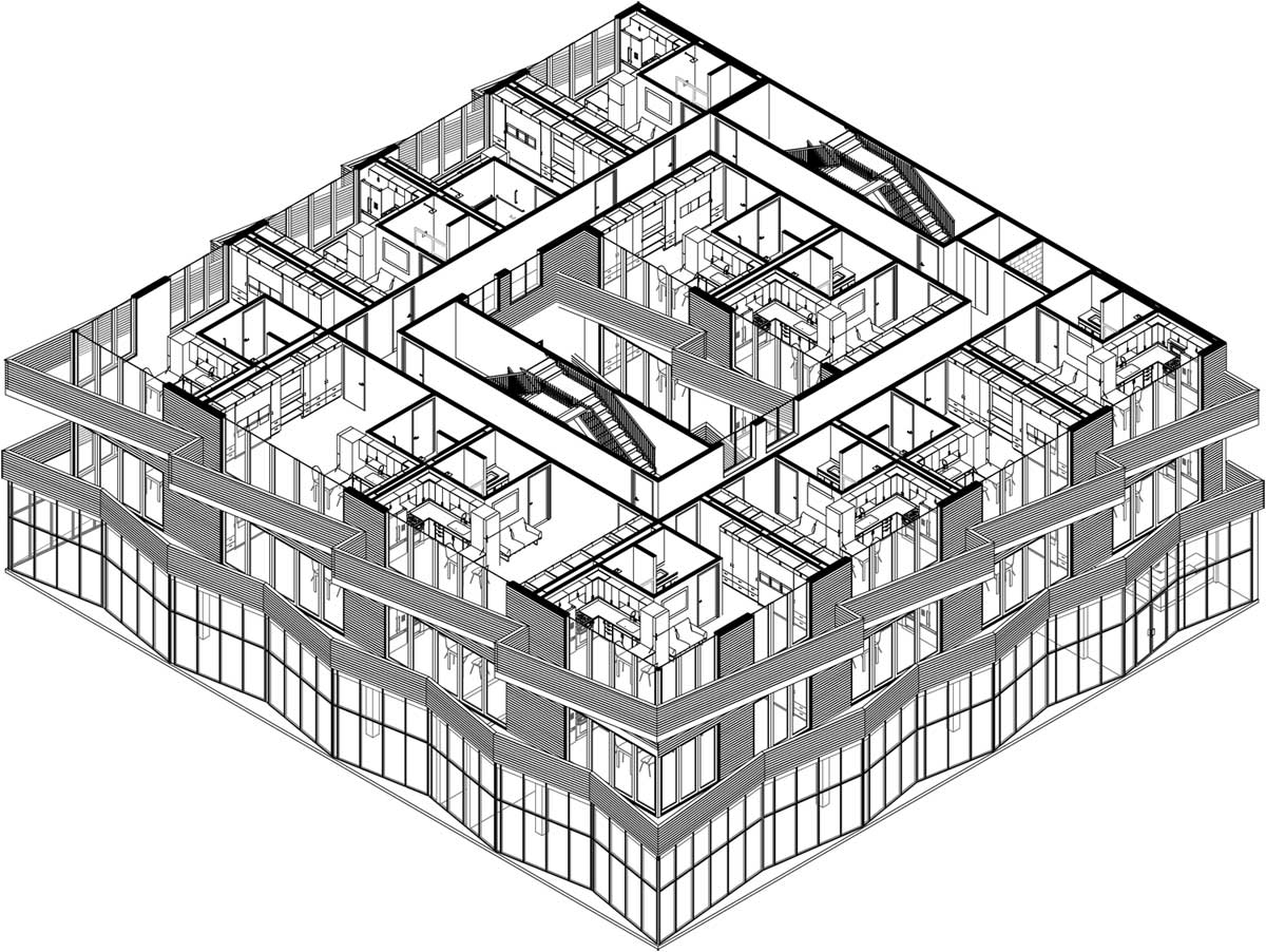 NYC Micro Dwellings Wood Rain Screen Facade Ground, 1st, and 2nd Floor