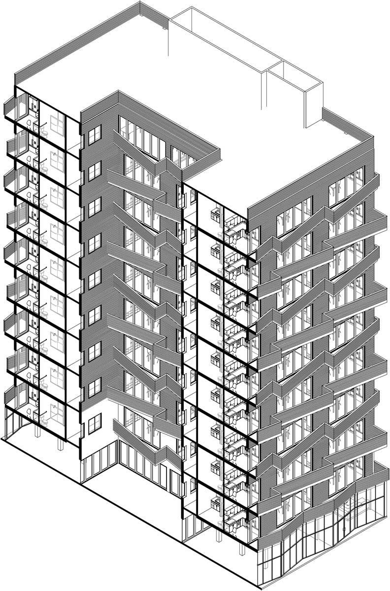 NYC Micro Dwellings Wood Rain Screen Facade Isometric Section
