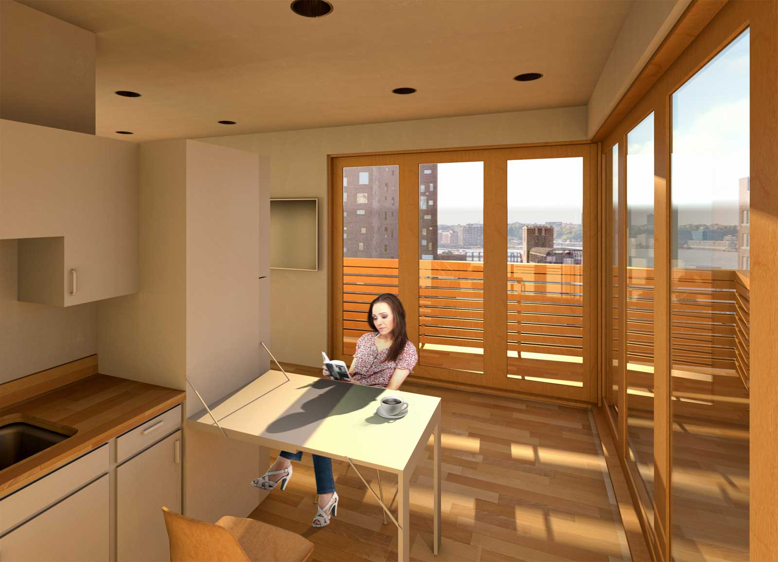 Kitchen and dining with balcony