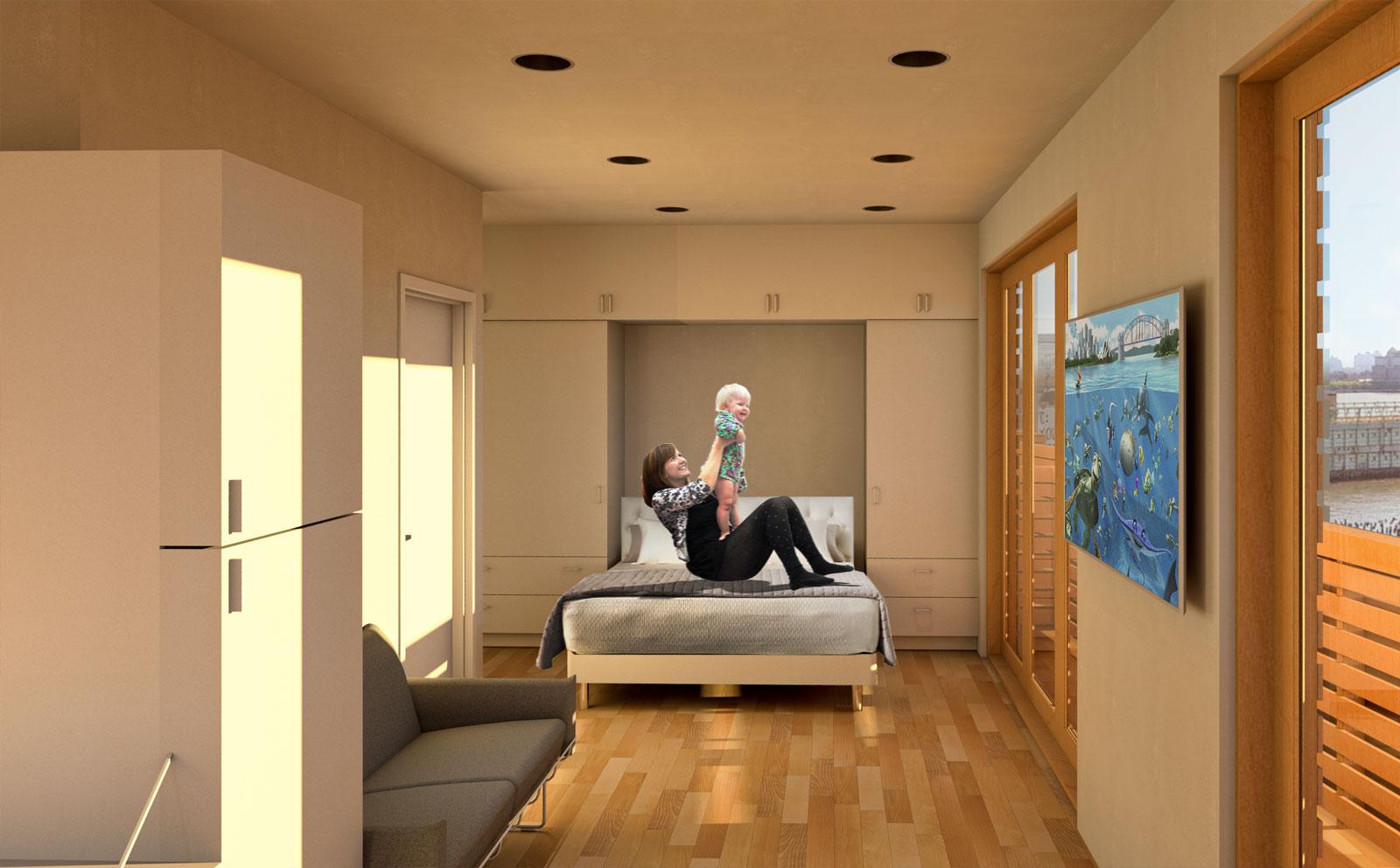 Multi-purpose space as bedroom