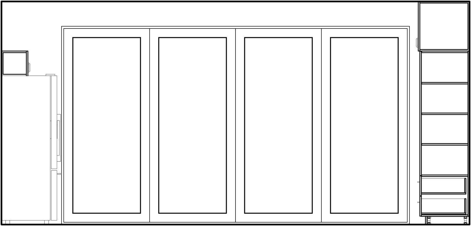 Elevation of fully operable balcony doors