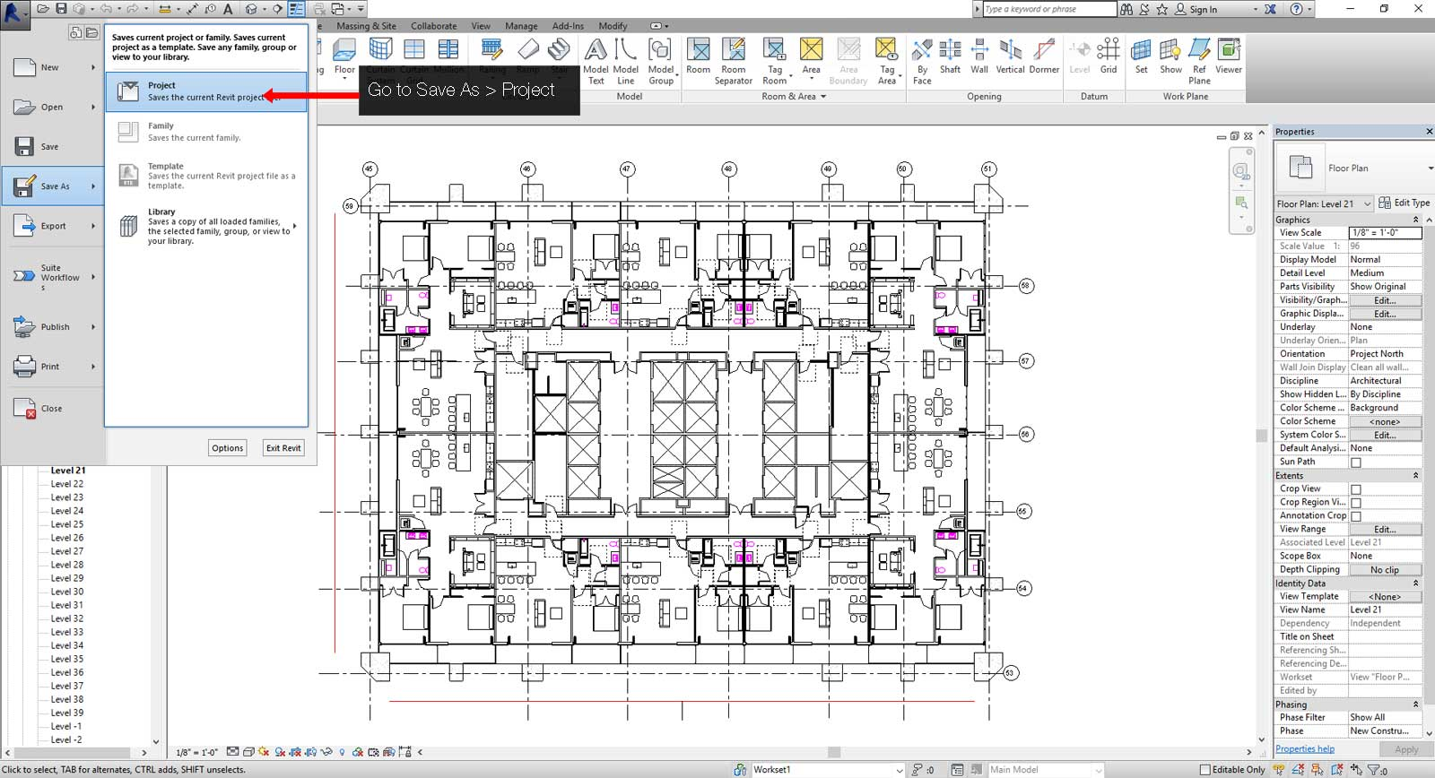 How to create a central Revit file step 03