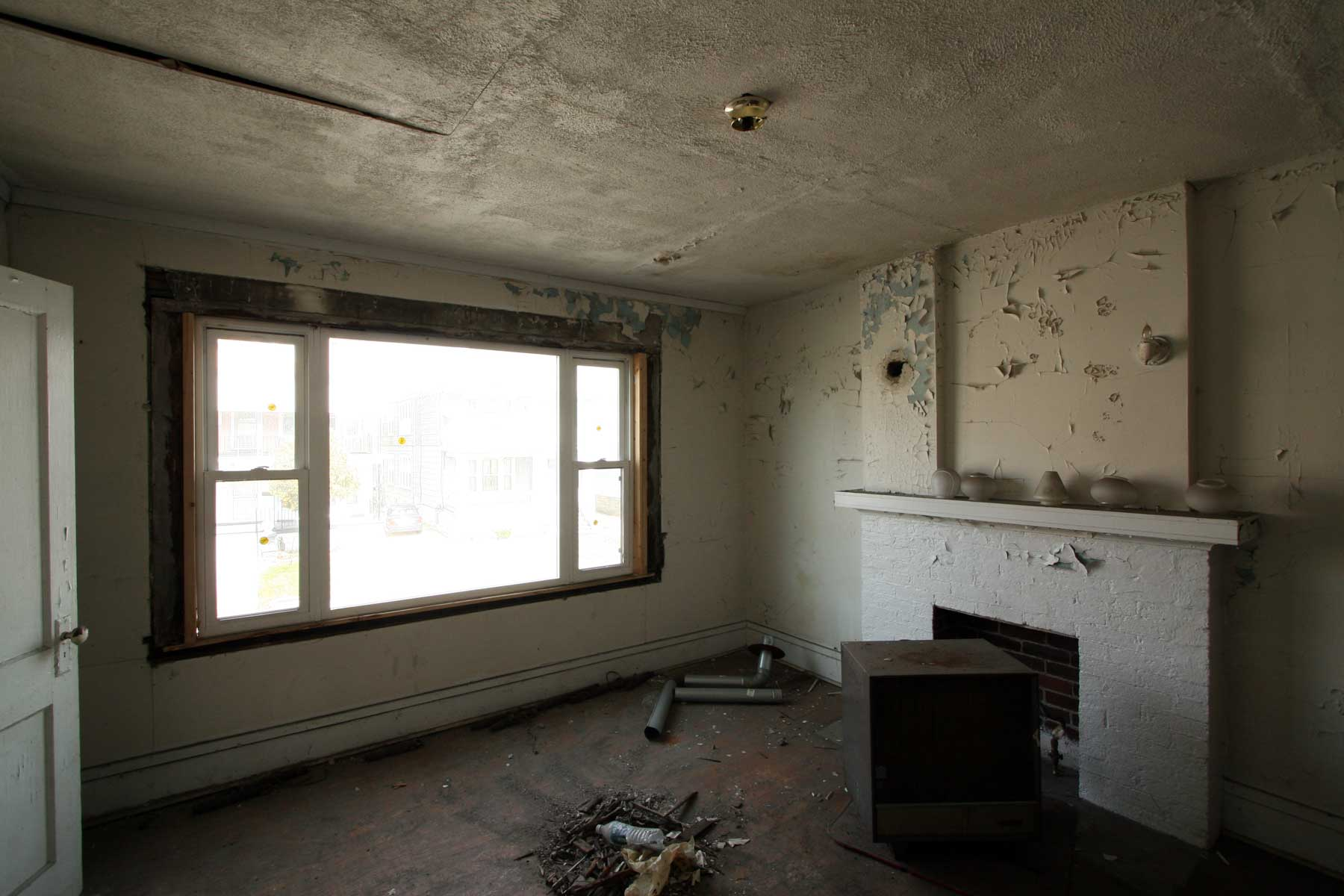 Studio Apartments' Existing Fireplace