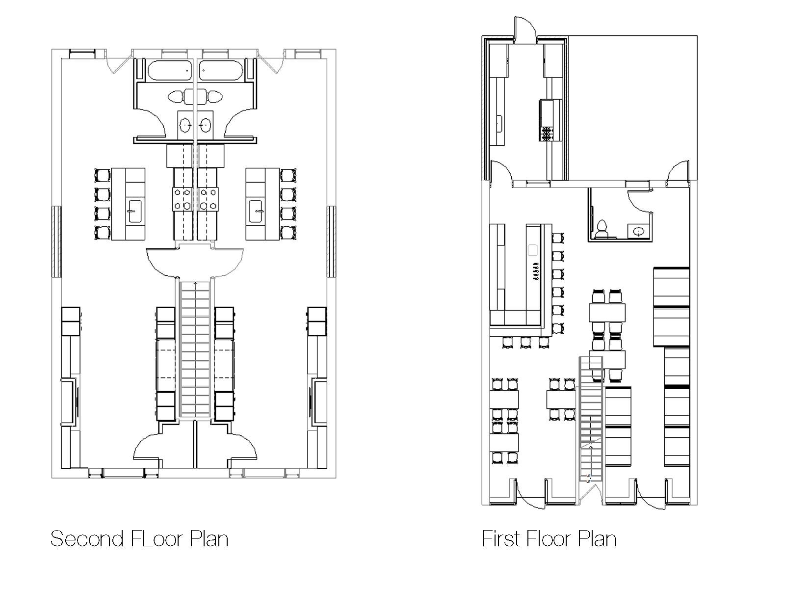 5x30 Restaurant and Apartment Floor Plans