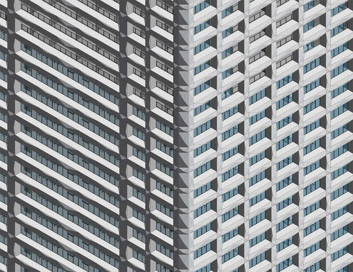 One Seneca Tower Grid Pattern Facade